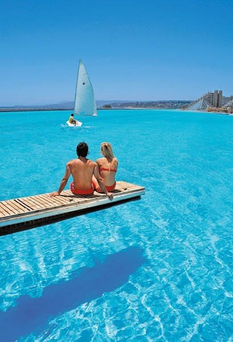 """Largest Swimming Pool in the World. Algarrobo, Chile. It covers 20 acres!! Swimming with no worries about sea creatures!"""