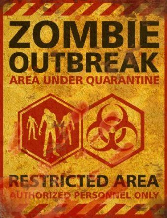 amazoncom zombie outbreak halloween sign decor prop road and lawn decoration - Zombie Halloween Decorations
