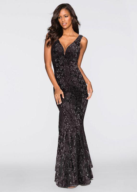 0ee8d76dad Czarna długa sukienka wieczorowa z cekinami    Długa suknia wieczorowa   długie suknie wieczorowe