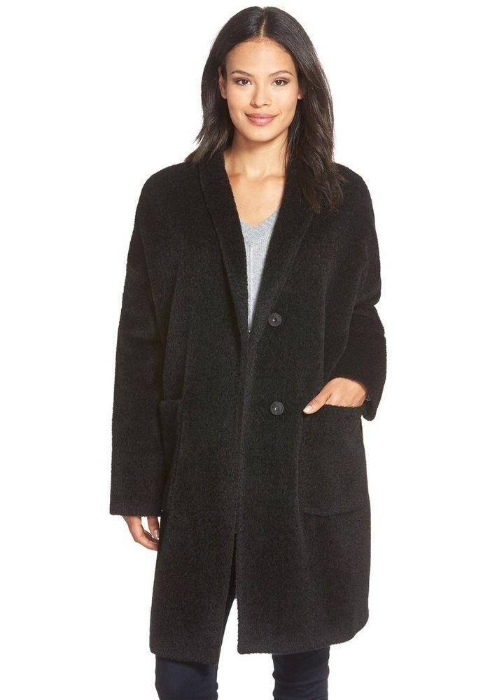 Eileen Fisher SHEARED SURI Alpaca-Blend Kimono Coat BLACK JACKET S $638 #EileenFisher #BasicCoat #Casual