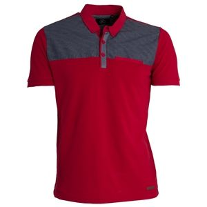 ETO Jeans Mens Designer Polo T-Shirt With Chambray Chest Pannel EPL273 (Red)