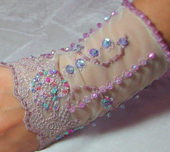 OOAK Hand Beaded Lace Cuff in Pale Purple