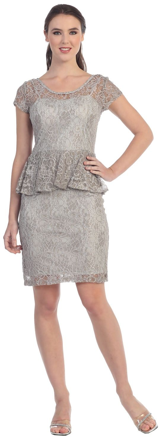 Silver Short Lace Peplum Dress Discountdressshop Silverdress Peplumdress Weddingguest Shortdress