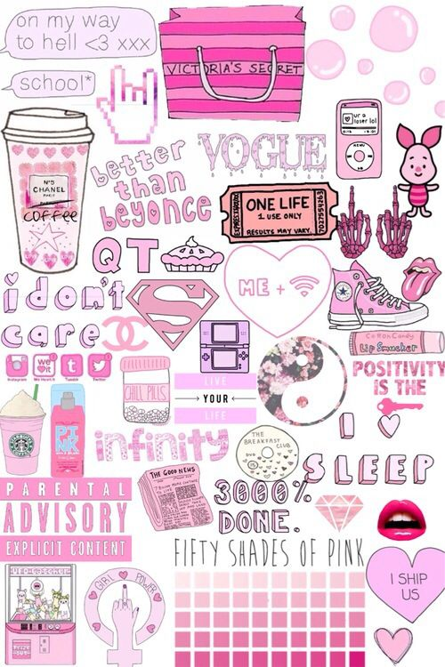 background, collage, funny, girly, love, pink, starbucks ...