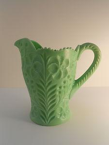L E Smith Glass Dogwood Pattern Green Milk Glass Jadeite Water Pitcher