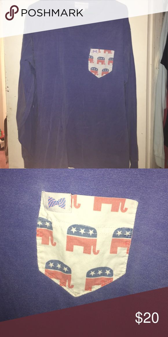 fraternity collection republican elephant pocket t super cute! blue tshirt with a republican elephant pocket. great condition. Fraternity Collection Tops Tees - Long Sleeve