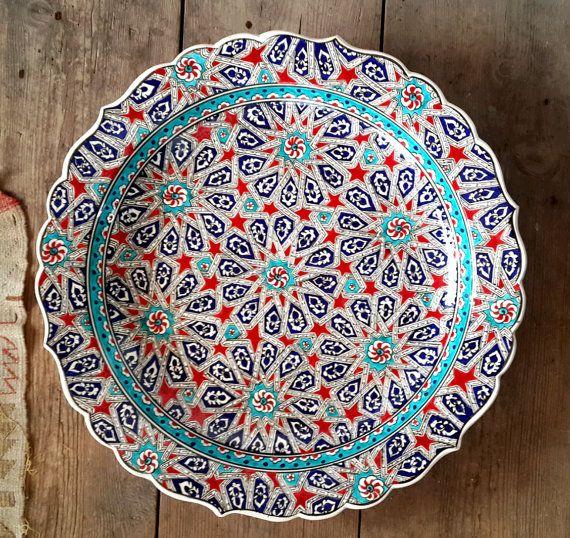 Hand Made Turkish Ceramic Plate / Wall Decor / iznik by Turqu50, $310.00