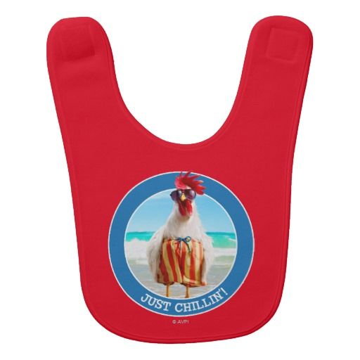 Rooster Dude Chillin' at Beach in Swim Trunks. Regalos, Gifts. #babero #bib