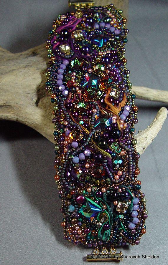 SHEER DECADENT SHIBORI Bead Embroidered Bracelet/Cuff by 4uidzne