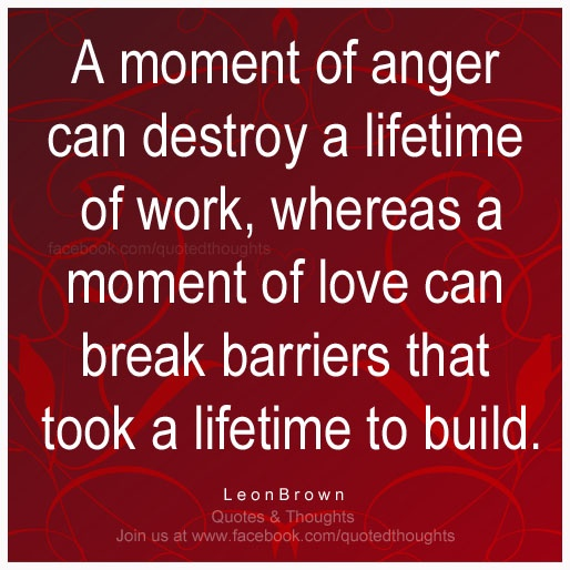 A moment of anger can destroy a lifetime of work, whereas a moment of love can break barriers that took a lifetime to build. ~ Leon Brown ~