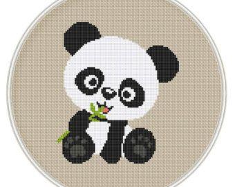 Cross stitch pattern, Counted cross stitch pattern, Free shipping, Cute panda bear