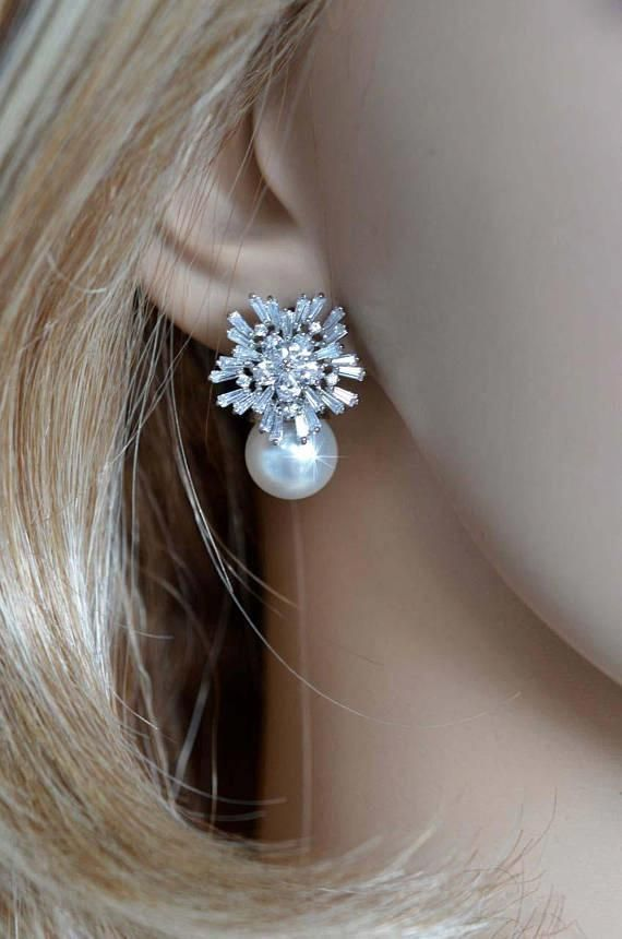 Silver Plated White Round Shell Pearl Snowflake Flower Necklace and Clip on Earrings Jewellery Sets Bride Wedding