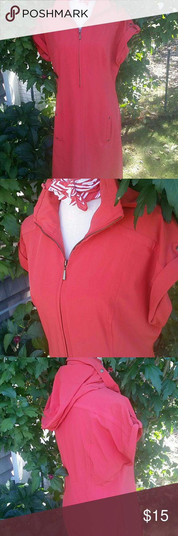 Zenergy by Chico's dress Excellent condition like new no rips or stains All zippers work. 87%polyester 13%spandex.  Bunt orange coral color dress, with athlete workout style. Chico's Dresses Midi