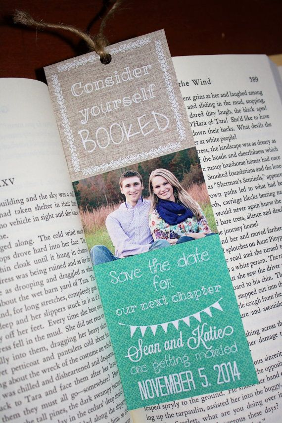 Custom Printable Save the Date Bookmarks. by JustChuggingAlong, $20.00