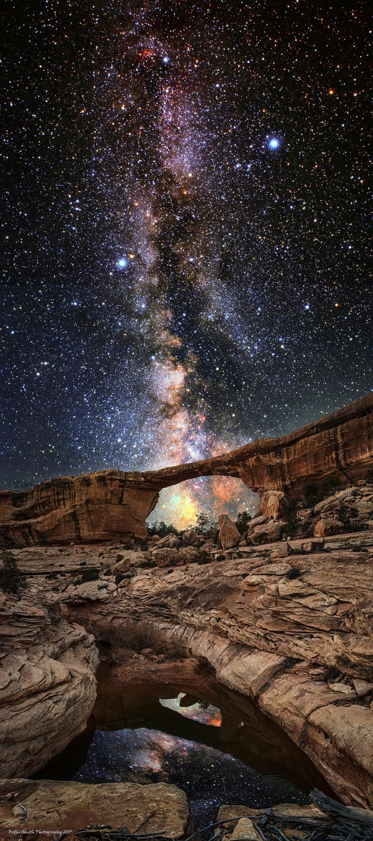 """(Like most of my images, this composition is best viewed on black...just click on the image to see it on black)  This is my newest composition, it is entitled """"Ascension."""" I captured this composition under the brightest and deepest Milky Way that I have ever witnessed in my life during a recent trip to Natural Bridges National Monument in south central Utah about a week ago.   This night was a beautiful evening that I got to share with my dog and my muse, the Dude. And I think that ..."""