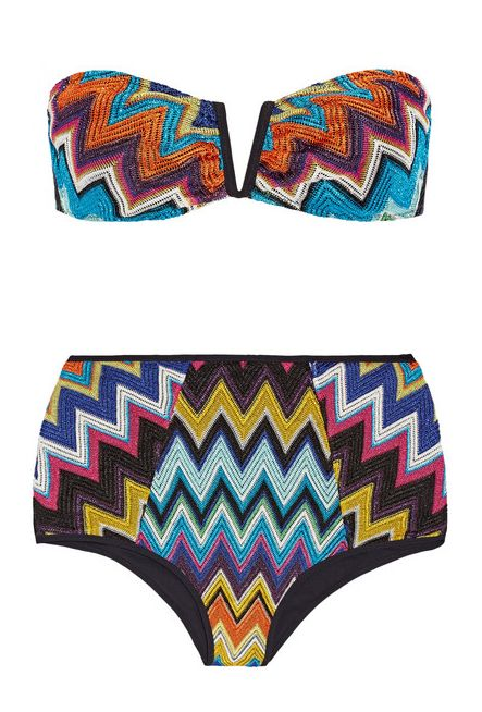 Missoni Crochet-Knit Bandeau High-Waisted Bikini