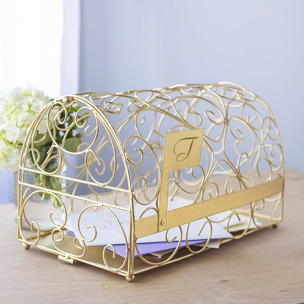 Gold Wedding Reception Gift Card Holder : ... holder card mailbox card holder reception gift gold reception card box