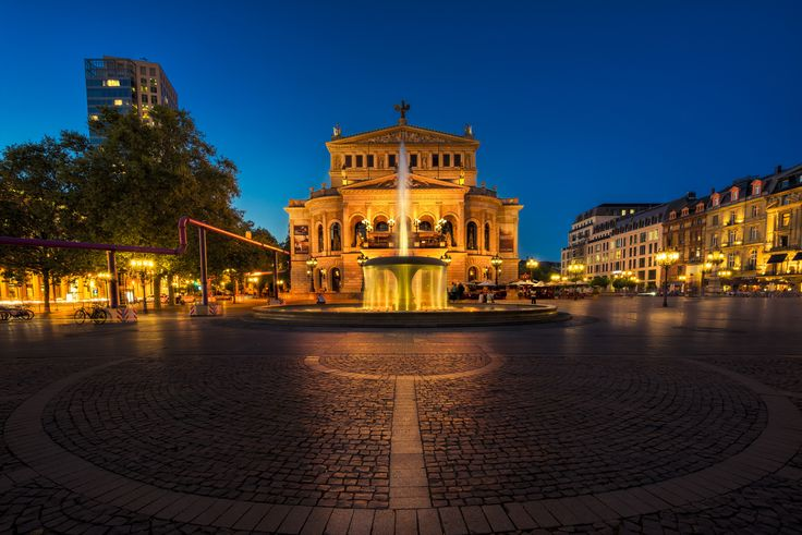 Old Opera in Frankfurt - This picture is part of my series. Frankfurt at Night. The challenge was to remove all the people that are walking by and sitting around this beautiful place. Stand for like 3 hours and captured several moments that are merged together in this final image.