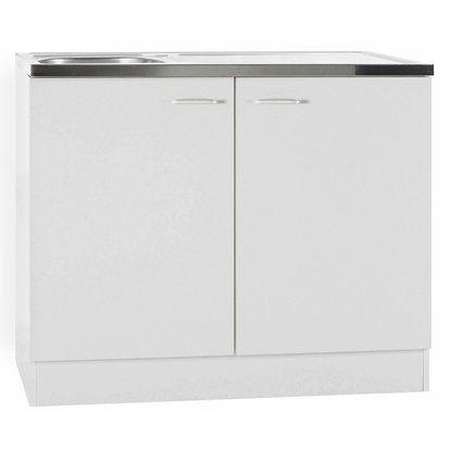 Spülenunterschrank Klassik 50 Weiß mit Arbeitsplatte 100 cm