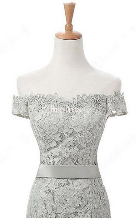 Silver Trumpet Mermaid Off The Shoulder Lace Sweep Train Long Prom Dress