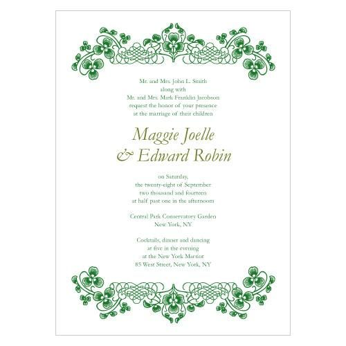 Luck of the Irish Wedding Invitation features a white background with celtic knotting accents on the top and bottom. It is available in five colors.  White envelopes are included with your purchase.