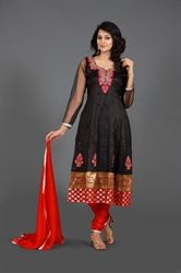 Picture of Black and Red Kameez with Churidar