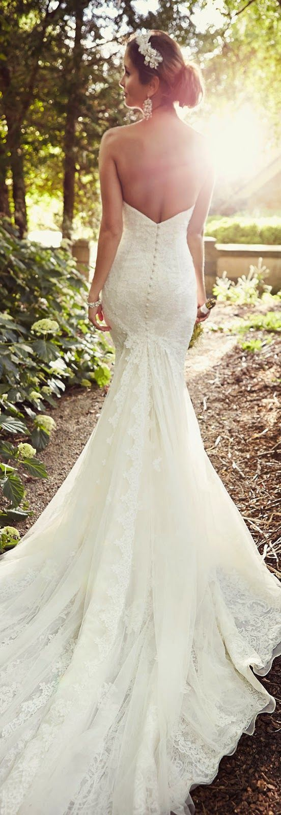 Essense of Australia Backless Lace Mermaid Wedding Dress / http://www.deerpearlflowers.com/52-perfect-low-back-wedding-dresses/