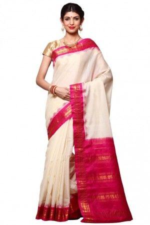 White pure silk gadwal saree