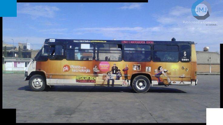 Rotulación de camión de transporte publico en el Estado de México, campaña Plaza de la Tecnología.