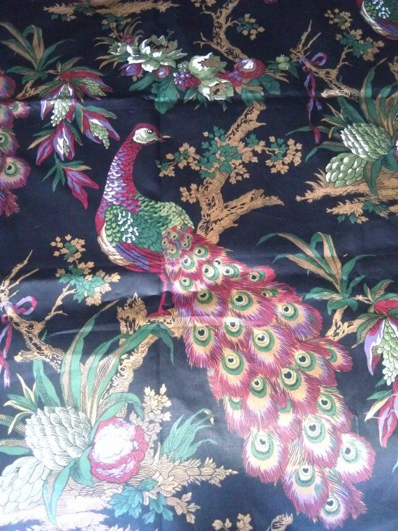 Peacock print upholstery fabric home decor floral birds chintz drapes curtains pillows