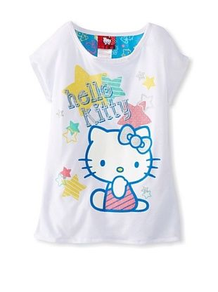 67% OFF Hello Kitty Girl's Graphic T-Shirt with Chiffon Back (Bright White)