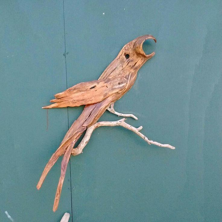 Handmade driftwood creation macaw bird for sale 120.00