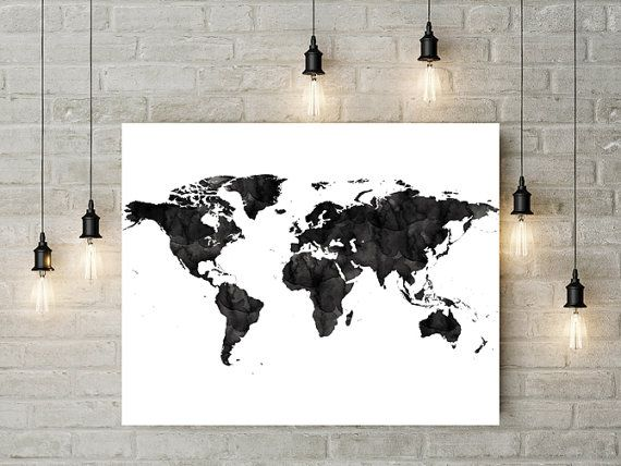 The 25 best world map online ideas on pinterest buy art 6s world map black watercolor print large travel map large world map gift painting home decor world gumiabroncs Choice Image