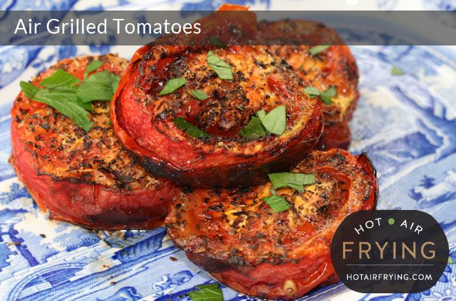 """These easy grilled tomatoes taste great, are virtually fat free, and make a great side to any meal, including breakfast. We made these in the top pan of a two-level Actifry™ (""""Actifry 2 in 1™""""), but you can also use a regular Actifry with a snack tray inserted, or a basket-type fryer such as... Read More »"""