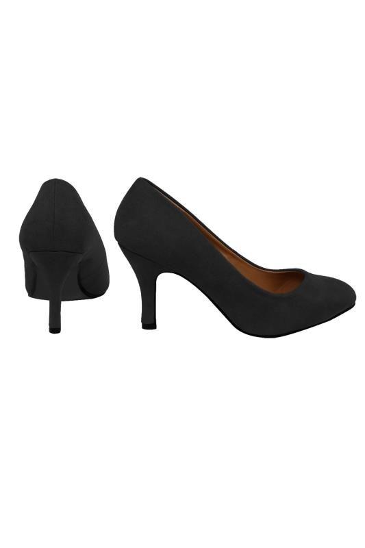 Black Suedette Court Shoe In E Fit