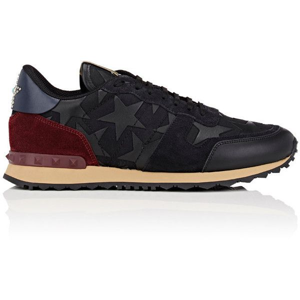 Valentino Men's Rockrunner Sneakers ($895) ❤ liked on Polyvore featuring men's fashion, men's shoes, men's sneakers, mens low tops, mens leather shoes, men's low top shoes, mens lace up shoes and valentino mens shoes