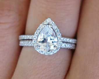1.5 Carat Pear Cut Halo Engagement Ring & Wedding Band,  D Color Flawless Man Made Diamonds, Wedding, Sterling Silver, Bridal, Promise Ring