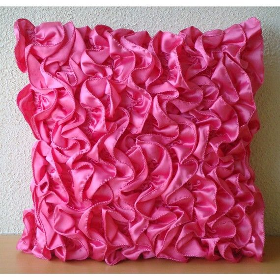 hot pink ruffled pillow