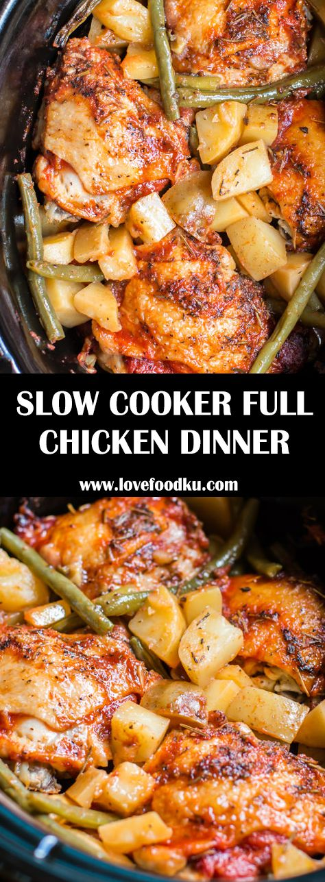 SLOW COOKER FULL CHICKEN DINNER – #recipes
