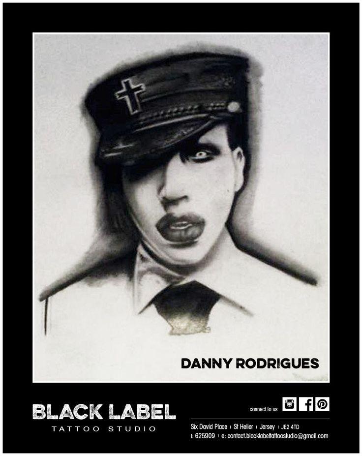 "Black Label Tattoo Studio | Artist: Danny Rodrigues ""Marilyn Manson"" | Pencil Drawing, Sketch, Portrait"