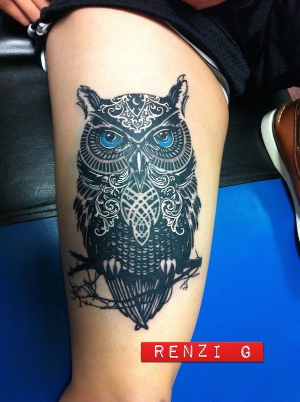 Blue eyed owl - I love things that are black and this owl tattoo is not an exemption. #TattooModels #tattoo