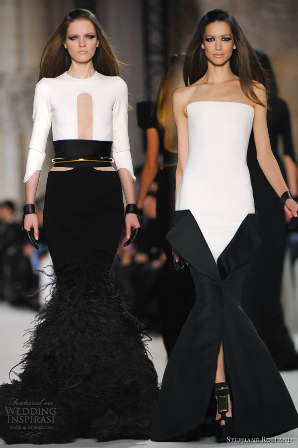 """Black and white silk jersey mermaid gown with black organza and ostrich feather embellishment; white jersey and black gazar Tuxedo dress."" Stephane Rolland - MY Couture GOD I pray to only thee! ♥"