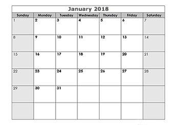 2018 blank monthly calendar