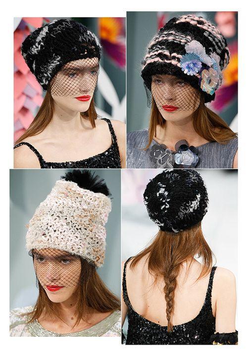 Look at what Chanel did with beanies..love!! KL Les bonnets à voilette du défilé Chanel haute couture printemps-été 2015 5