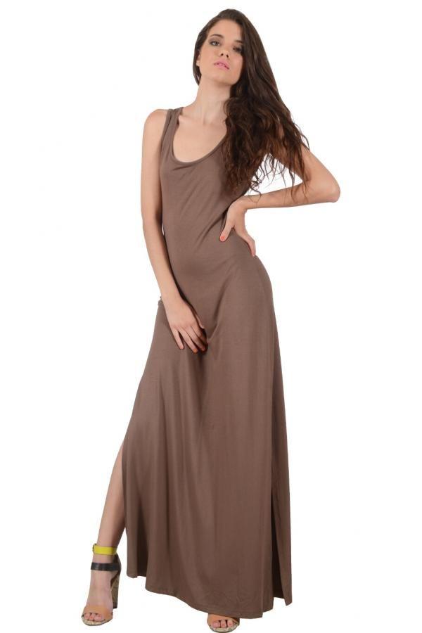 Φόρεμα βισκόζ μονόχρωμο σε ίσια γραμμή με ανοίγματα στις πλαϊνές και παπιόν πίσω