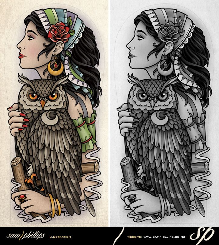 Gypsy Holding Owl Half Sleeve Tattoo by Sam-Phillips-NZ.deviantart.com