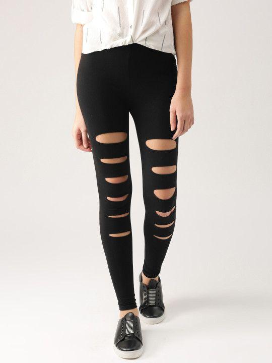 26748243b4218e Dressberry Women Black Ripped Ankle-Length Leggings - | 479 ...
