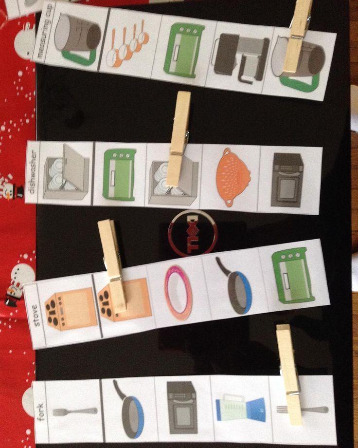 Kitchen clothespin cards...   Www.teacherspayteachers.com/teach-love-autism/store            Love these for my independent work task boxes!!  #worktasks #worktaskboxes #independencecity #teachersofinstagram #weteachsped #iteachsped #teachersoftpt #spedmusthave #spedlife #teachloveautism