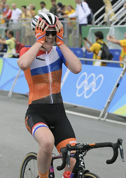 Anna van der Breggen of the Netherlands is joyous after winning the women's cycling road race at the Rio de Janeiro Olympics on Aug 7 2016