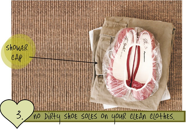 Why didn't I think of that? Packing, Organizing, Shoes, Shower Cap